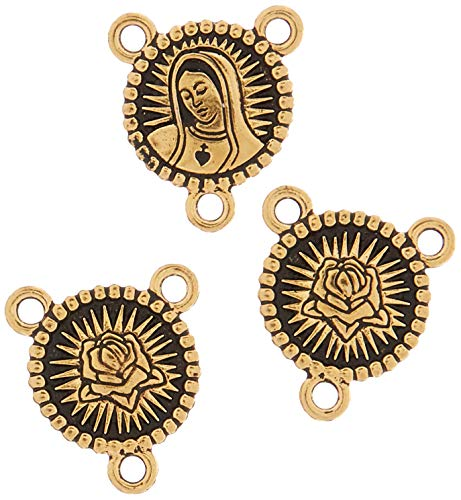 TierraCast Rosary Center Our Lady Charm, 21mm, Antiqued 22K Gold Plated Pewter, 3-Pack