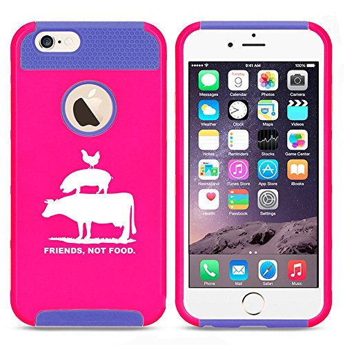 For Apple iPhone SE Shockproof Impact Hard Soft Case Cover Friends Not Food Vegan Farm Animal Rights (Hot Pink-Blue)