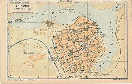 Amazon Com Brindisi Southern Italy 1935 Vintage Color Lithograph
