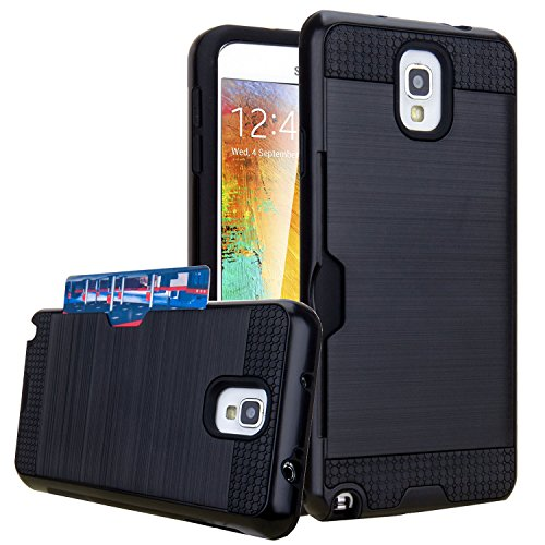 J.west Note 3 Case, Galaxy Note 3 Case, Note 3 Wallet Case with ID Card Slot Holder Rugged Rubber Heavy Duty Shock Absorbent Armor Hybrid Defender Shock Proof Case Cover Skin - Black