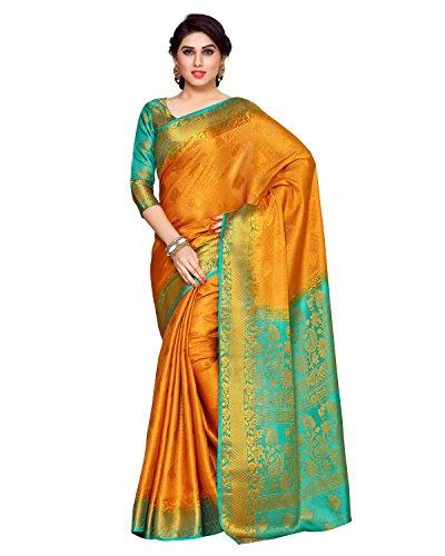 KUPINDA Women's Artificial Silk Saree Kanchipuram Style (4153-280-2D-GLD-RMA) Color: Gold