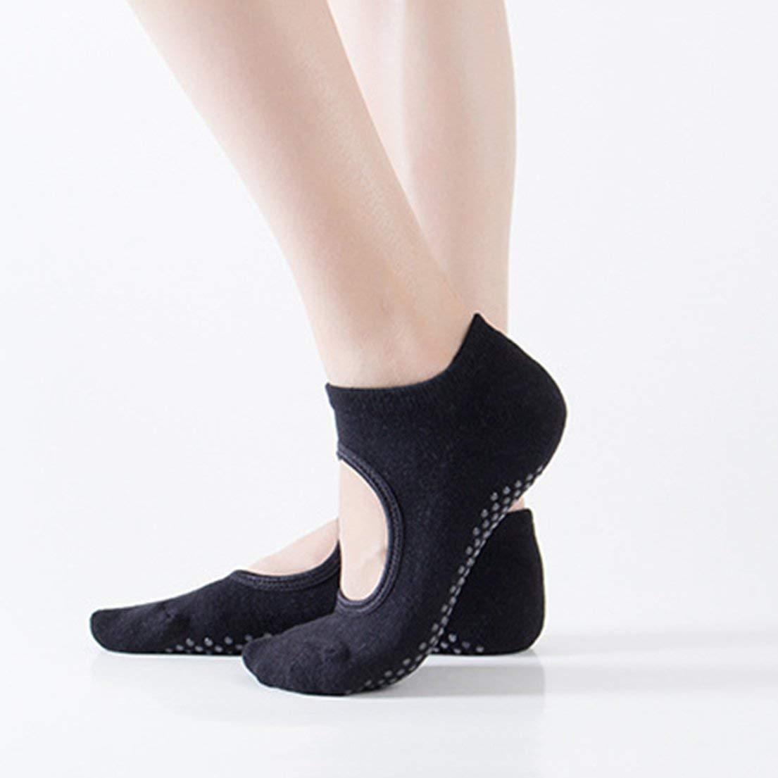 Chaussettes de yoga anti-d/érapantes pour femmes anti-d/érapantes et respirantes Fitness Pilates Chaussettes de danse anti-d/érapantes chaussettes en coton avec chaussettes /à talons noir DFHJS