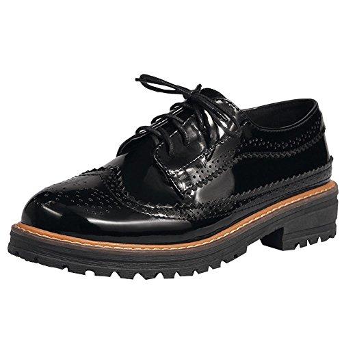 Mee Shoes Damen chunky heels Niedrig Borte Schnürschuhe Schwarz