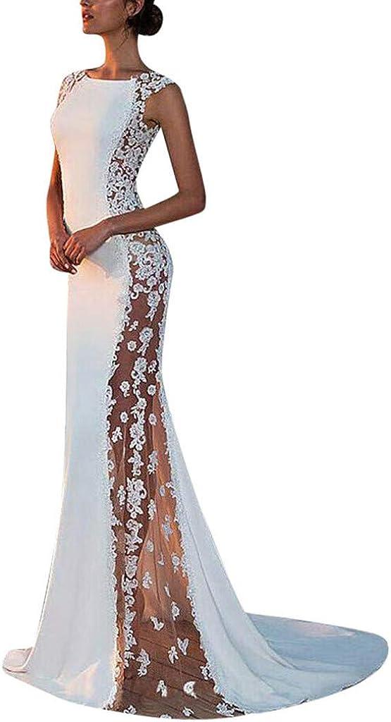 CLUSHM Womens Dress Sleeveless Wedding Bridesmaid Lace Evening Party Long Dress