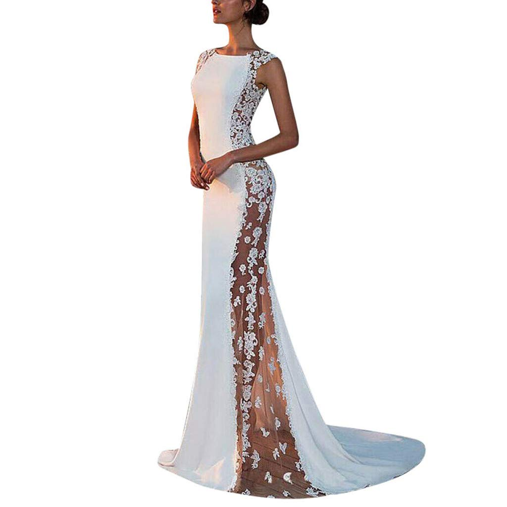 Ladies Elegant Formal Wedding Evening Party Ball Prom Long Dress for Bride Womens Sleeveless White Lace Bodycon Maxi Dress Bridesmaid