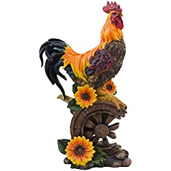 Classic Proud Rooster Statue on Old-fashioned Wagon Wheel with Sunflower Accents for Rustic Country Kitchen Decor Sculptures As Farm Animal Gifts for Farmers