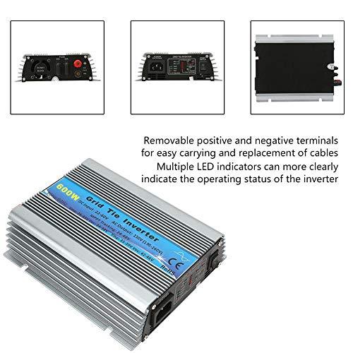 Solar Wechselrichter, 600W Grid Tie Pure Sinus Haushalts Solar Wechselrichter 22-60V(EU Plug AC 230V)