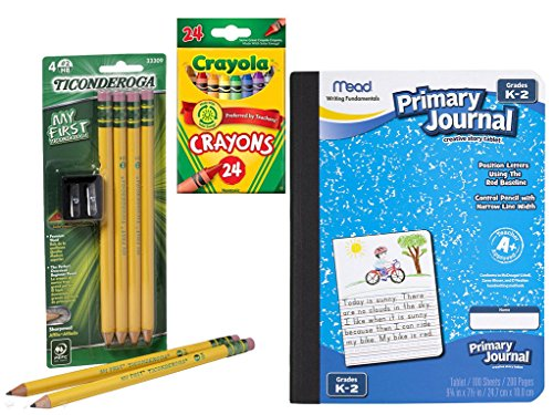 Writing Bundle for PreK to Grade 2 (Primary Pencils and Journal, Sharpener, and Crayons)
