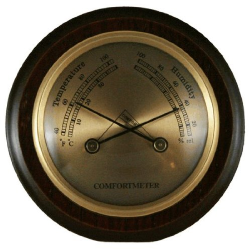 Ambient Weather WS-YG357 Cherry Finish Compact Traditional Temperature + Humidity Comfortmeter by Ambient Weather