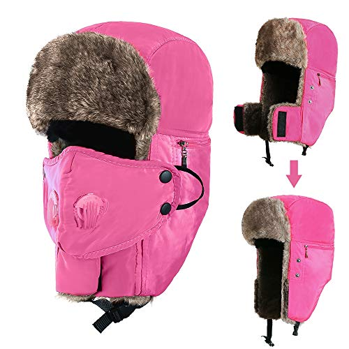 Trooper Trapper Hat Winter Hat with Ear Flaps for Men and Women, Faux Fur Aviator Hat with Detachable Breathable Face Mask, Windproof Waterproof Warm Ushanka Hunting Hat, Hot -