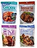 Frontera Gourmet Mexican Simmer Sauce 4 Flavor Variety Bundle, 1 Each: Chipotle Tinga Chicken, Red Chile Barbacoa, Oaxacan Red Chile Mole, and Garlicky Carnitas, 8 Oz. Ea. (4 Pouches Total)