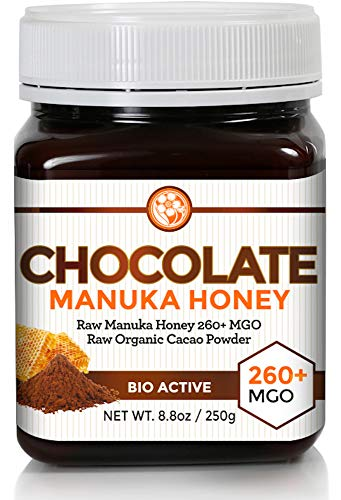Cherry Honey Spread - Chocolate Manuka Honey MGO 260+ (NPA 10+) | Organic Cacao | A Healthy Spread or Treat for Adults Or Kids | Just Two Pure Ingredients with Nothing Else Added