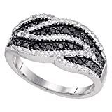 10k White Gold Black Diamond Cocktail Ring Stripe Fashion Band Round Cluster Style Fancy 1/2 ctw Size 6