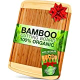 Bamboo Cutting Board With Drip Groove [100% Natural] – Anti-Bacterial, EXTRA LARGE, Damage Resistant + Extra BONUS Set of 5 Bamboo Cooking Utensils