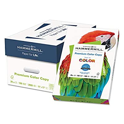 Hammermill 102541 Premium Color Copy Paper, 100 Bright, 28lb, 11 x 17, Photo White, 500 Sheets/RM