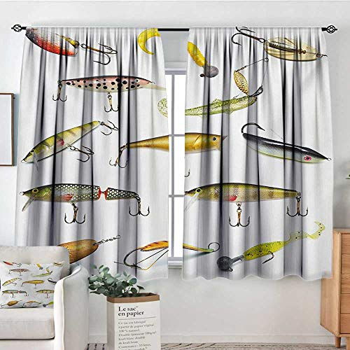 Elliot Dorothy Print Pattern Curtains Fishing,Fishing Tackle Bait for Spearing Trapping Catching Aquatic Animals Molluscs Design,Multicolor,for Room Darkening Panels for Living Room, Bedroom - Tackle Atomic