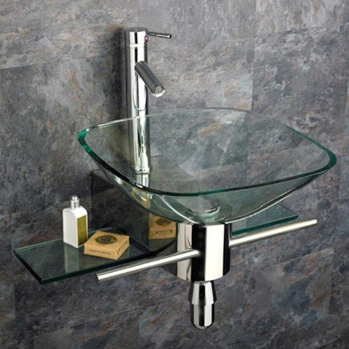 Wall Mount Clear Bathroom Sink Fixture Combo Set