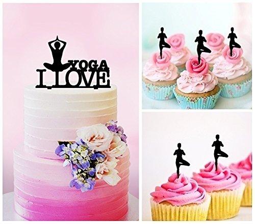 TC0153 I Love Yoga Party Wedding Birthday Acrylic Cake Topper Cupcake Toppers Decor Set 11 pcs by jjphonecase (Image #2)