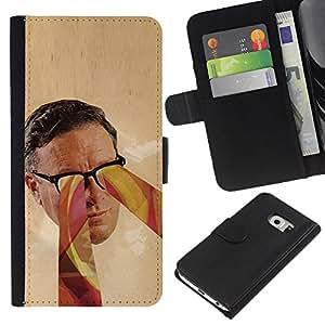Samsung Galaxy S6 EDGE SM-G925 , la tarjeta de Crédito Slots PU Funda de cuero Monedero caso cubierta de piel ( Glasses Psychedelic Art Colors Man Face Portrait)