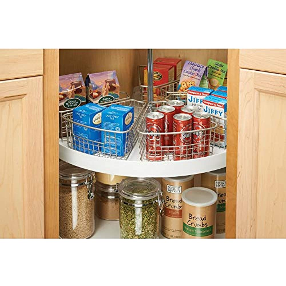 Mdesign Lazy Susan Wire Storage Basket With Handle For ...