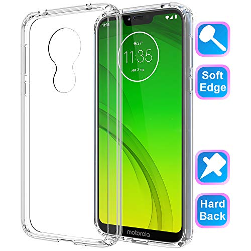 GSDCB Motorola Moto G7 Power Case 2019, Moto G7 Supra Case, Air Cushion Shockproof Phone Protective Case with Hard PC Back Cover Hybrid Soft TPU Edge Ultra Thin Slim Fit for Women Men Girl Boy Clear