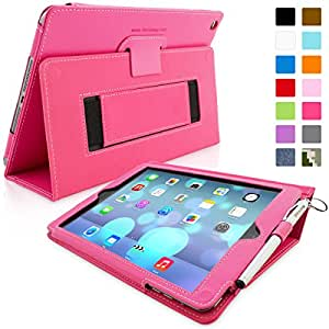 Snugg iPad Air Case - Smart Cover Case with Kick Stand (Hot Pink Leather) for the Apple iPad Air 1