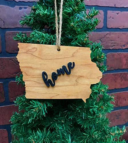 Iowa State Ornament Keepsake Decoration Holiday Gift Home Ornie Party Favor (Iowa Art)
