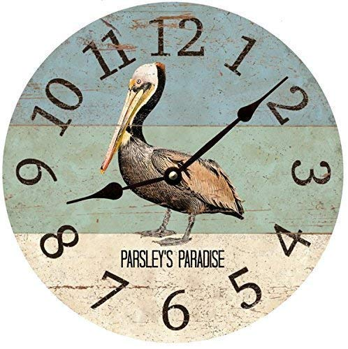Personalized Pelican Clock - Personalized Beach Themed Pelican Wall Clock (Cart Battery Print)