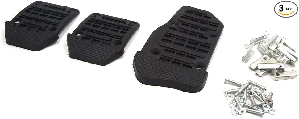 X AUTOHAUX 2pcs Metal Car Accelerator Brake Foot Pad Nonslip Pedals Treadle Cover Red Black