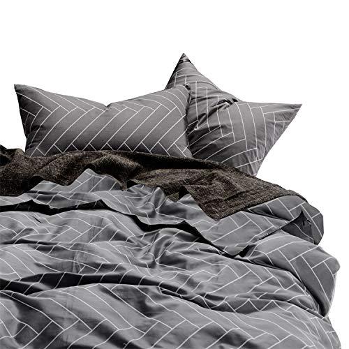 Wake In Cloud - Gray Duvet Cover Set, 100% Cotton Bedding, Chevron Herringbone Geometric Modern Pattern Printed on Grey, with Zipper Closure (3pcs, Full Size)