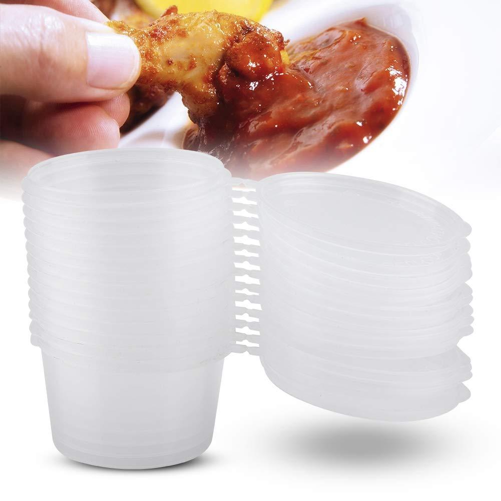 Porciones de pl/ástico desechables con tapas 100 ml 4 oz Salsas claras Souffle Condimento Caja de muestreo de la taza de muestreo 100 unids//set