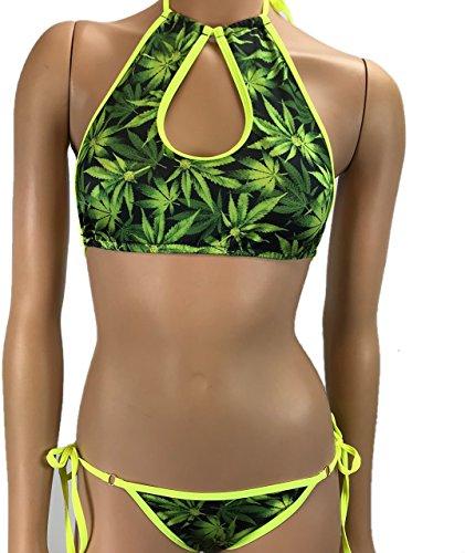 Freyas Boutique keyhole high neck top turtle boy shorts tank exotic danceweae UV booty shorts bottom bikini cheeky festval rave marijuana weed leaf