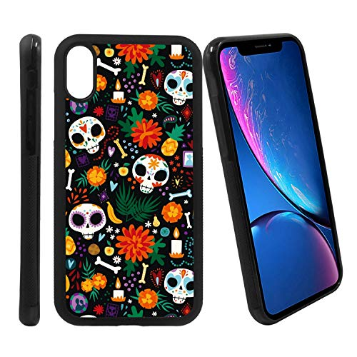 [Dia de Los Muertos Sugar Skull Pattern] Compatible with Apple iPhone XR, Non-Slip Soft Rubber Side & Hard Back Case Cover Shell -