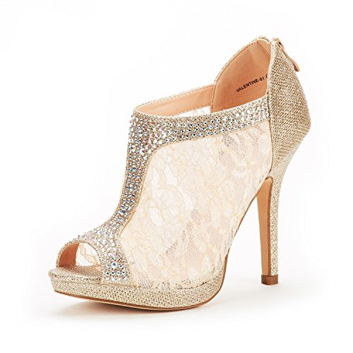 16de9df386d74c DREAM PAIRS Women s Valentine-01 Gold Glitter Fashion Dress High Heel Peep  Toe Wedding Pumps