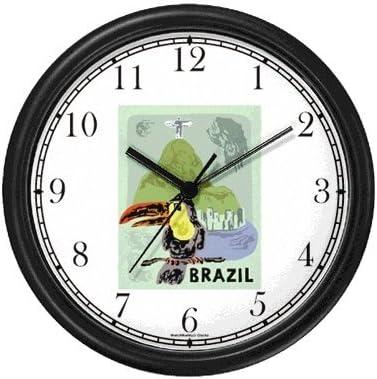 WatchBuddy Toucan – Staute of Christ The Redeemer – Cristo Redentor – Corcovado Mountain – Rio de Janeiro, Brazil – Brazilian – Famous Landmarks – Theme Wall Clock Timepieces Hunter Green Frame