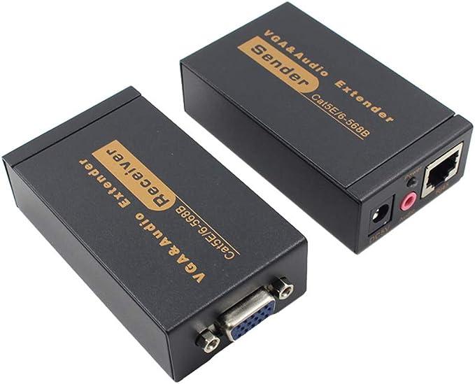 Receptor Transmisor por Cable 2pcs VGA Extensor VGA a 100 Metros de extensión VGA RJ45 a RJ45 Amplificador Soporte para Disco Duro DVR HD 3D