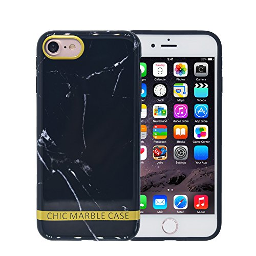 Marble iPhone 6 Case, FACEVER Crystal Marble Pattern Shock Proof Soft Silicone Ultra Slim Fit Case Cover For Apple iPhone 6 6S 4.7 inch, Black