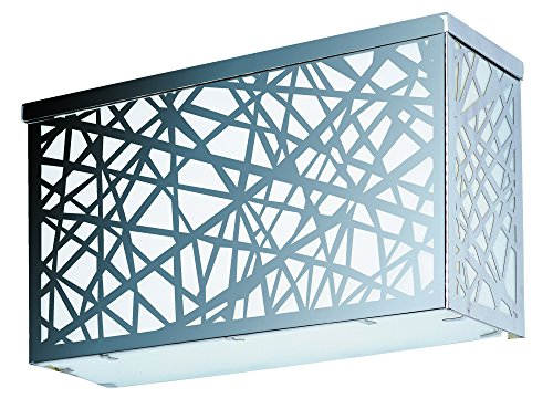 ET2 E21336-61PC Inca LED Large Outdoor Wall Sconce, Polished Chrome Finish, White Glass, PCB LED Bulb, 1.2W Max., Dry Safety Rated, 2900K Color Temp., Low-Voltage Electronic Dimmer, Glass Shade Material, (Polished Chrome Wall Sconce Lamp)