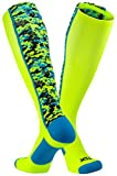 TCK Sports Digital Camo Over The Calf Socks, Neon Yellow/Electric Blue, Small