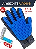 Pet Grooming Glove -259 SILICONE TIPS- Gentle Deshedding Brush Glove - Pet Bath and Massage - Pet Hair Remover gloves- Grooming Glove Brush for Dogs - Cats & Bunnies - Long & Short Fur (For Right Hand)