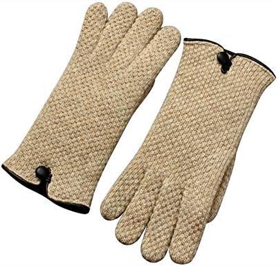 BTXXYJP ニットカシミヤ手袋の女性二重皮のタッチ画面の暖かい手袋 (Color : Camel, Size : One Size)