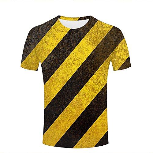 liujinsheng Men's Creative 3D Printed Vintage Yellow-Black Stripes Graphics Summer Casual T Shirt Unisex Couple Tees Top Short Sleeve ()