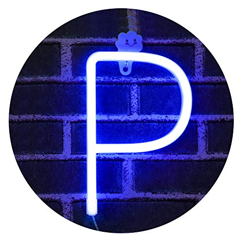 Obrecis LED Light Up Marquee Signs Neon Lights, Neon Signs Night Lights Letter Lamp for Wall Decor, Christmas, Birthday Party, Home Decorations -Blue Letter P (Decoration Christmas Wall)