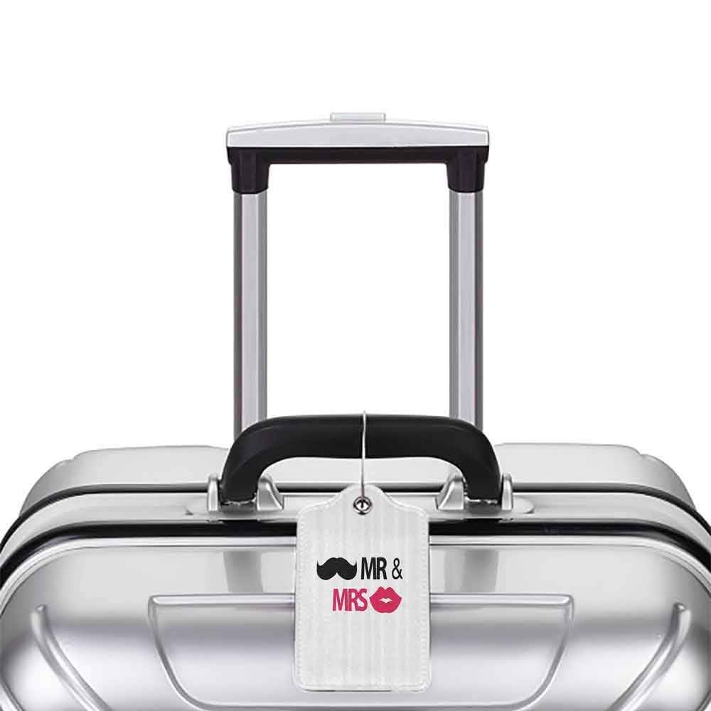 Waterproof luggage tag Wedding Decorations Funny Stencil Art Lips Moustache Mr and Mrs Retro Stylized Design Soft to the touch Black Pink White W2.7 x L4.6