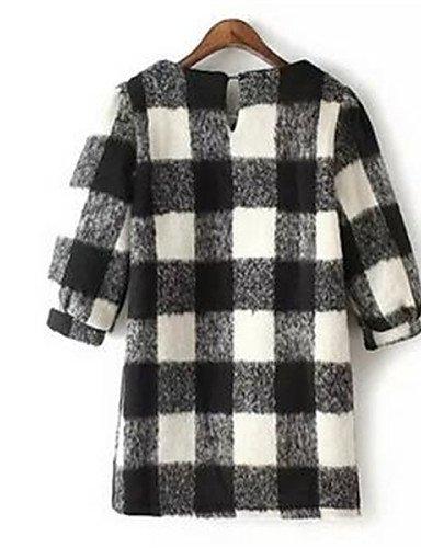 PU&PU Robe Aux femmes Ample Simple,Damier Col Arrondi Au dessus du genou Polyester , gray-one-size , gray-one-size