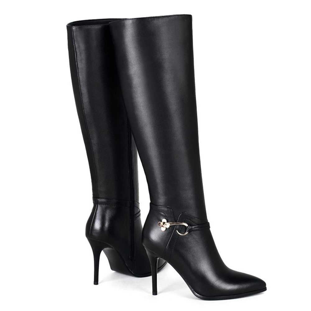 VOCOSI Women's Classic Side-Zip High Heels Leather Riding Boots Pointy Toe Knee-High Dress Boot B075QC5D9R 6 M US Black With Metal Buckle