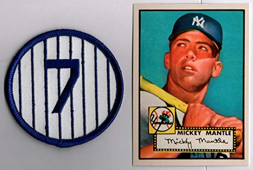 Mickey Mantle 1952 Topps Baseball Rookie RC Reprint Card and No. 7 Patch New York - Baseball Card