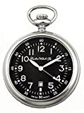 Dueber Swiss Military Style Pocket Watch with Black Dial, Luminous Hands, Steel Case