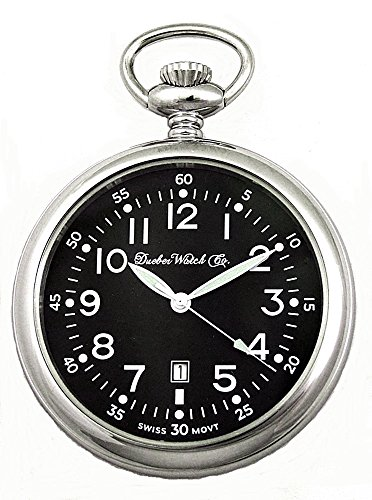 Swiss Made Pocket Watch (Dueber Swiss Military Style Pocket Watch with Black Dial, Luminous Hands, Steel Case)