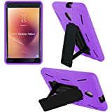 """KIQ Compatible Shockproof Heavy Duty Dual Protection Hybrid Case Cover for Samsung Galaxy Tab A2 S/A2S - 8.0"""" (SM-T380 & SM-T385) (Black/Purple)"""